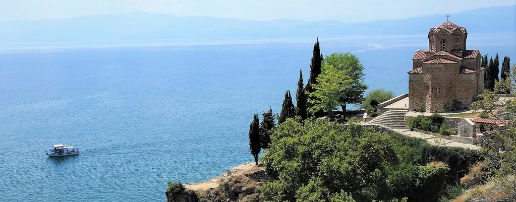 Orthodox church on the cliff over Kaneo beach overlooking Lake Ohrid