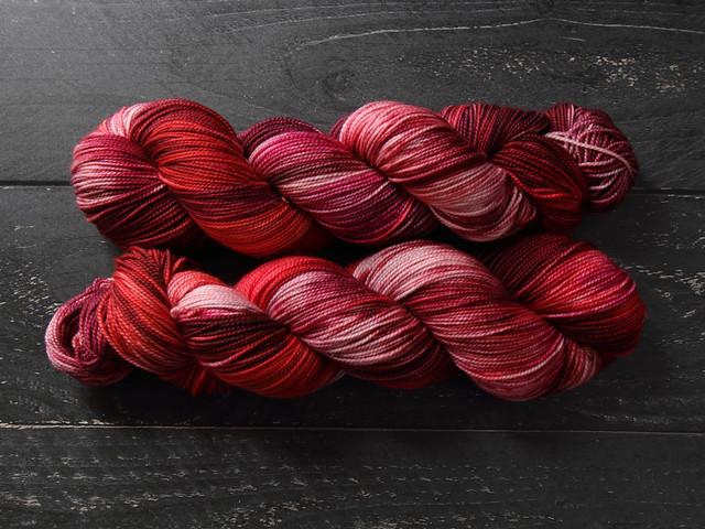 Favourite Sock – hand-dyed superwash merino wool yarn 4 ply/fingering 100g – 'Cherry Tree'