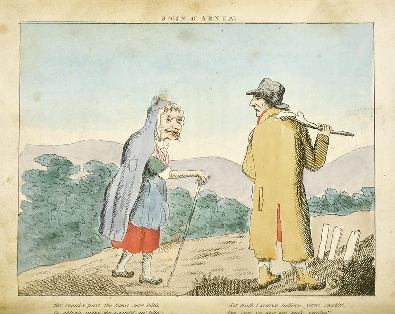 Her coatties pat the knees were kiltit, In eldrich notes she croone'd an' liltit...