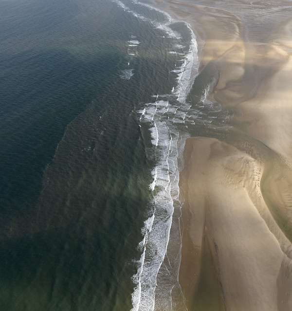High Sand Creek or Cabbage Creek meets the North Sea - Norfolk aerial image