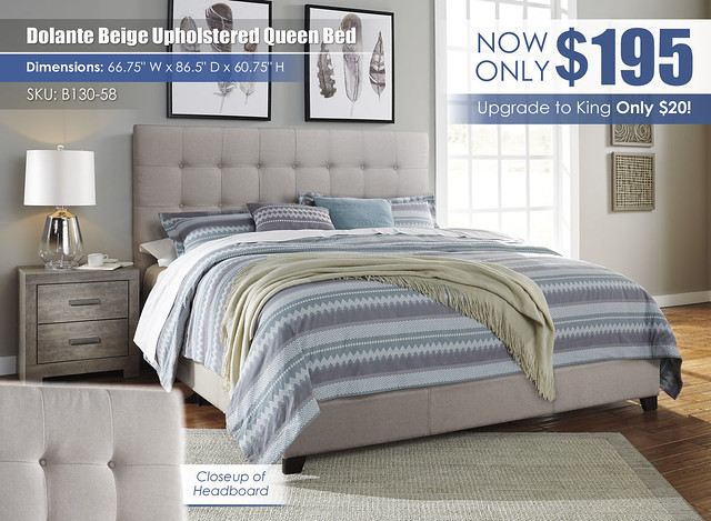 Dolante Beige Upholstered Queen Bed_B130-58