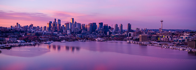 Seattle Sunrise Pano from Lake Union DJI Inspire 2