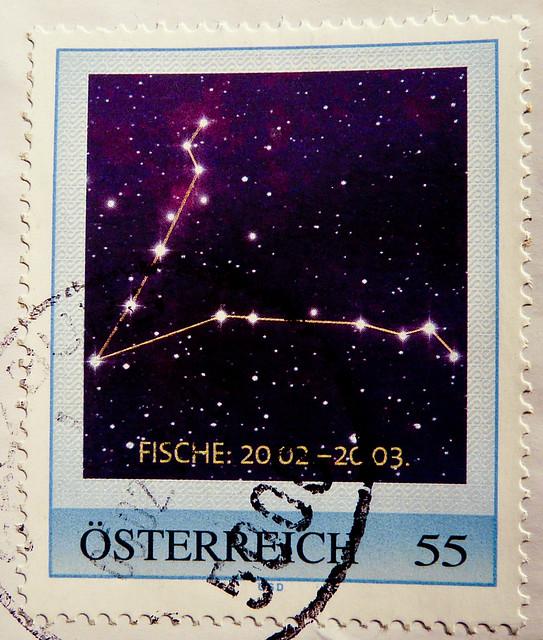 great stamp Austria 55c zodiac signe Pisces (20.Feb.- 20. March) (Tierkreiszeichen Fische, Sternzeichen, horoscope, Horoskop Fische  Astrology, signes du zodiaque, signos zodiacales, segno zodiacale,   astrológicos ) timbre Autriche selo sello Austria 55