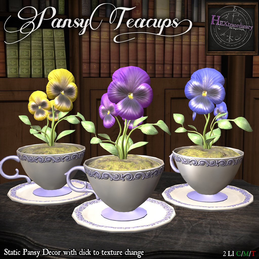 HEXtraordinary – Pansy Teacups – Fifty Linden Friday