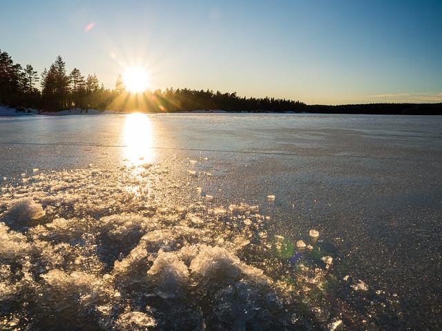 Sunset while ice fishing
