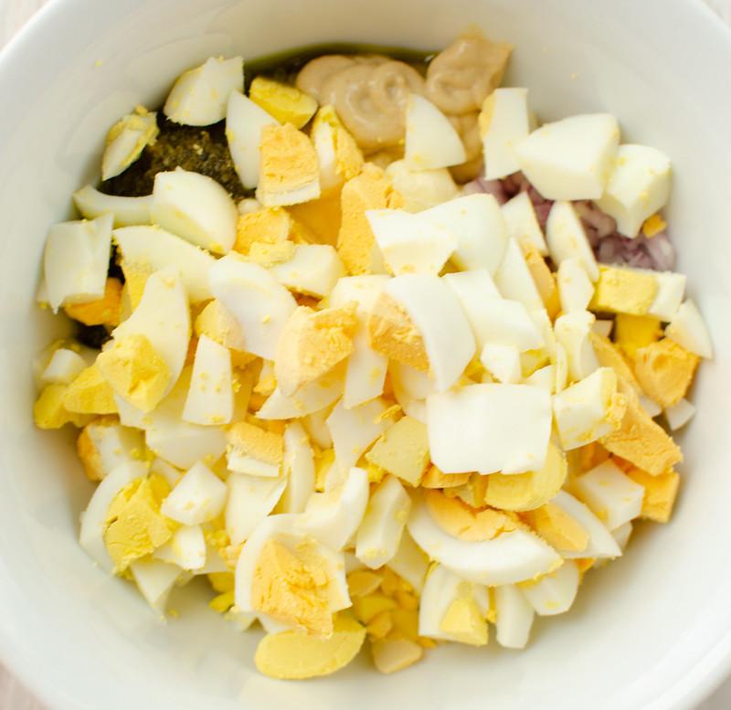 Overhead shot of ingredients for egg salad