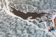 Melting ice   Kaunas aerial