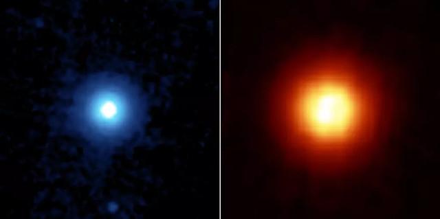 VCSE - A Vega a Spitzer Űrtávcső különböző infravörös hullámhosszakon készült felvételein. A baloldlai képen látható kisebb foltok a képen nem a bolygó képei. - Forrás: NASA/JPL-Caltech/University of Arizona