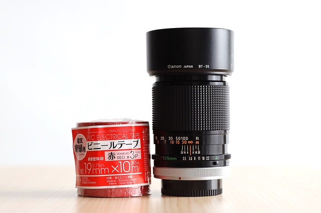 Canon FD135mm F3.5 S.C. (I) (1973) - DIY Canon L-lens (Red Ring).