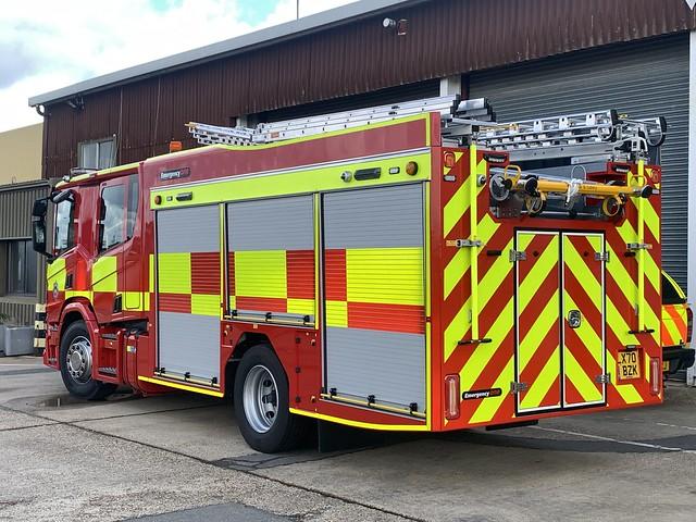 LX70 BZK Gatwick Airport's Scania P320 Emergency One Domestic Tender