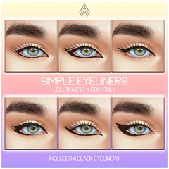 NEW RELEASE! Simple Eyeliners ( Lelutka EVO X BOM)