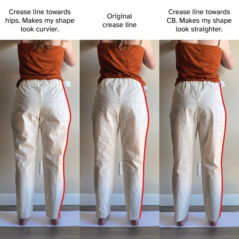 Image of three different hip crease line placements on the back of the pant. Overlaid is a red outline of the pant demonstrating how altering crease line changes the silhouette of the pant
