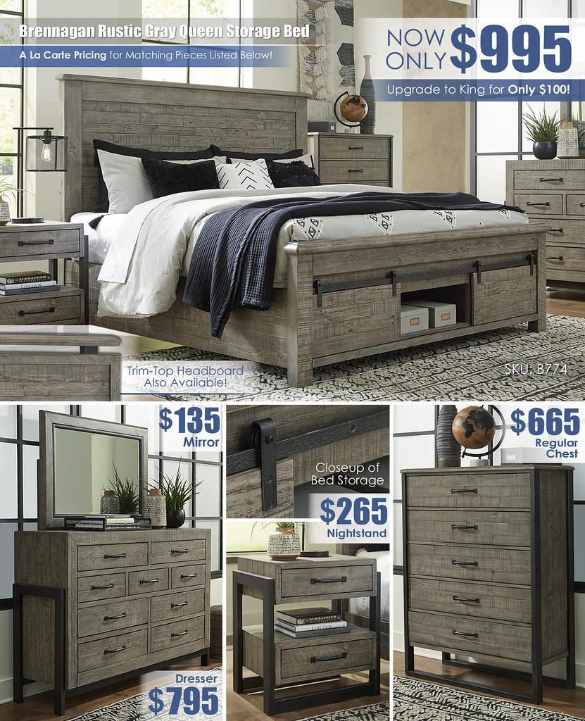 Brennagan Rustic Gray Queen Storage Bed Trim Top_B774 A La Carte