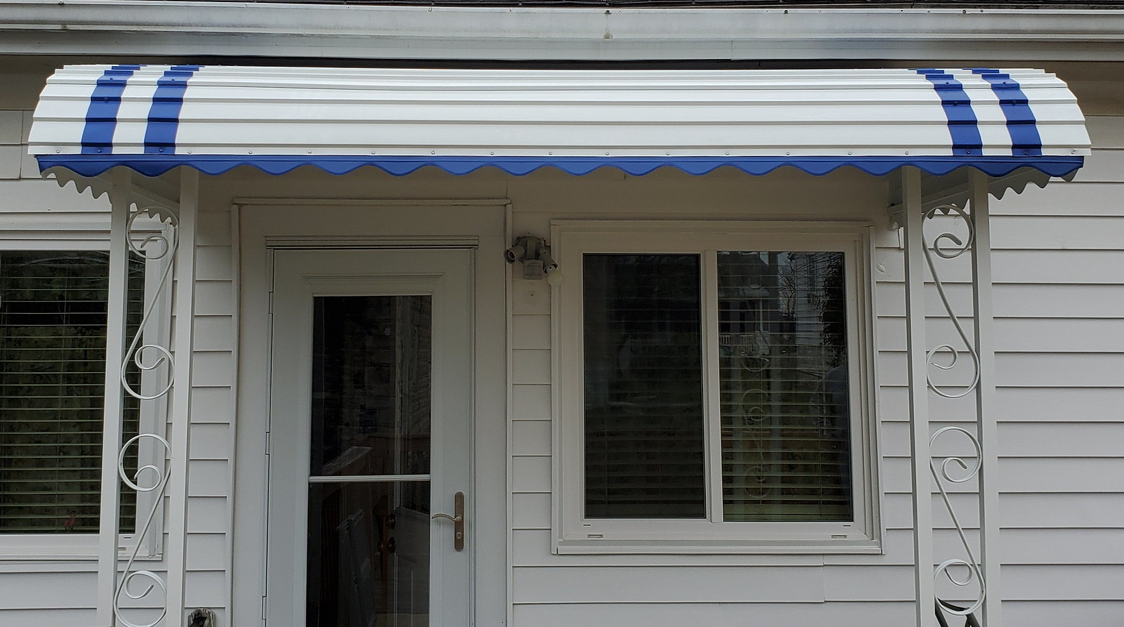 Porch Metal Awning Blue Stripes