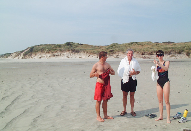 The Boococks and Tammy on Seven Mile Beach