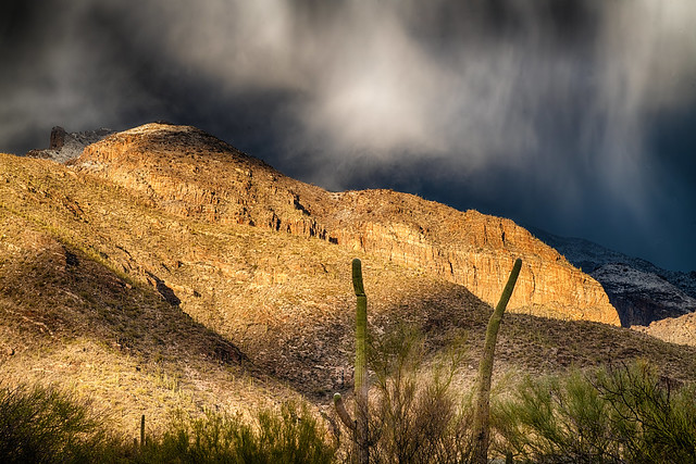 Clearing storm over Tucson AZ foothills at Sunset