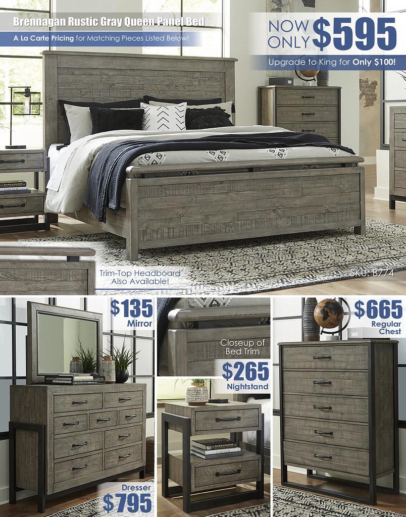 Brennagan Rustic Gray Queen Panel Bed_B774 A La Carte_ALT