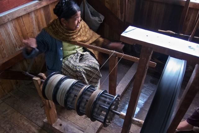 Yarn making from lotus fiber