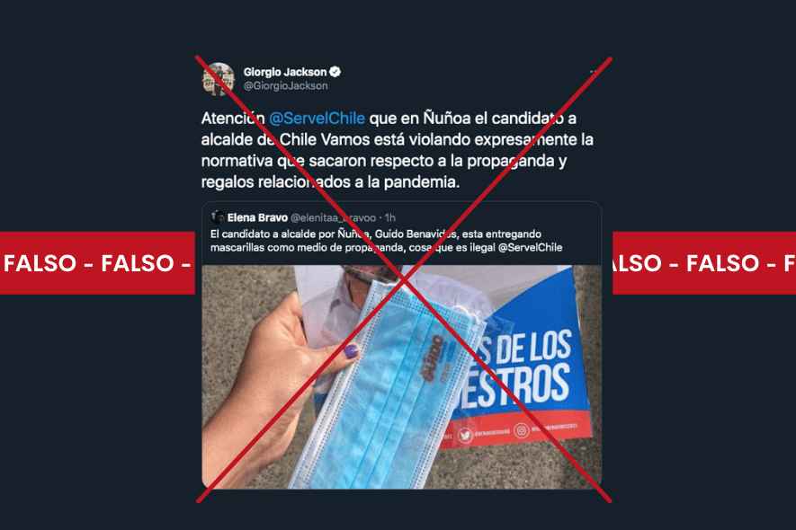 Es falso que la entrega de una mascarilla como propaganda electoral infrinja la normativa que regula esa materia