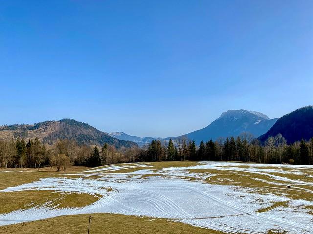 Mountain landscape in winter seen from Breitenau near Kiefersfelden in Bavaria, Germany