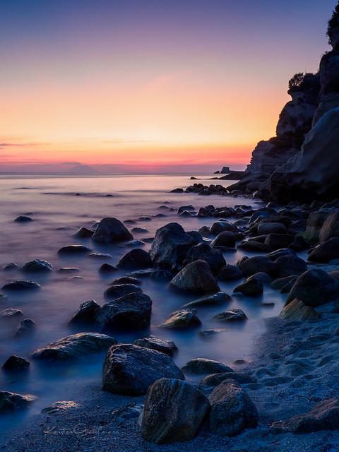 When the sun sets over Stromboli