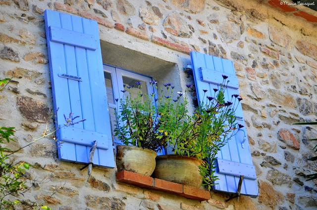 Fenêtre fleurie aux volets bleus