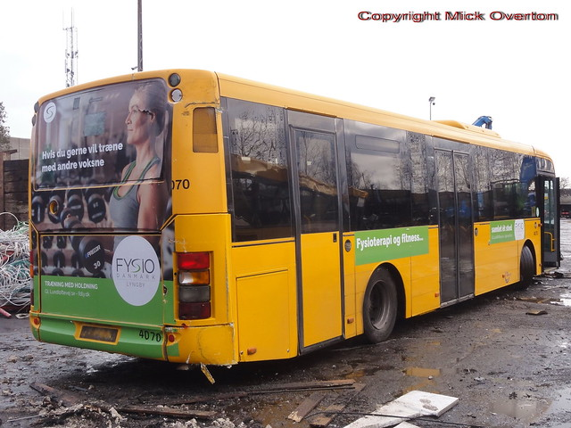 2009 Volvo B7RLE Nobina 4070 is seen in scrapping area where it would be chewed up the foillowing day