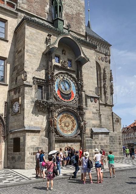 Tourist at the Astronomical Clock-Prague Czech Republic 0297