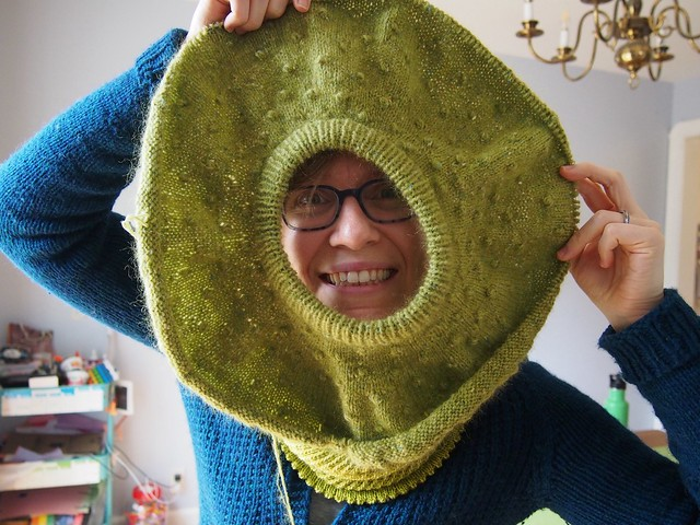 Being silly with my yoke-in-progress
