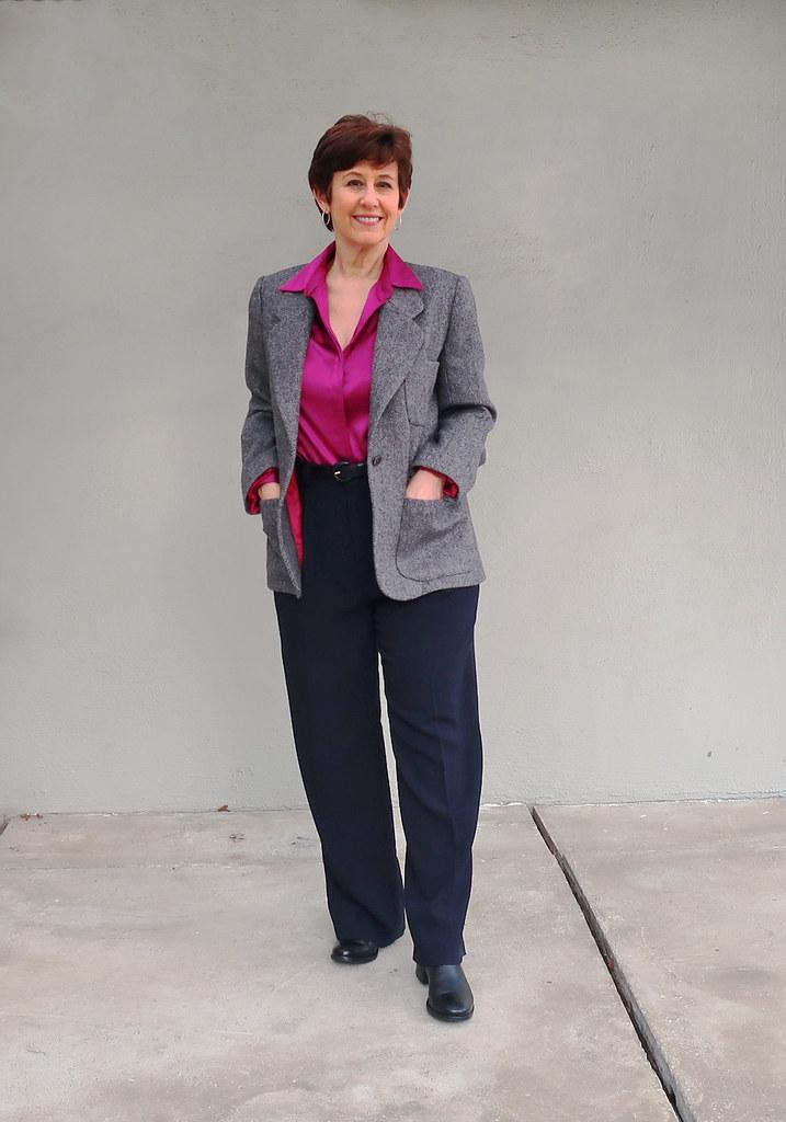 Tweed jacket with black pants1