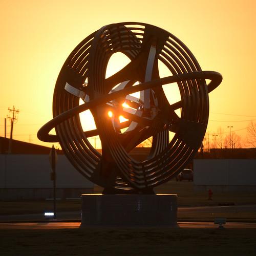 okc oklahomacity 2021 january downtown sunset sculpture