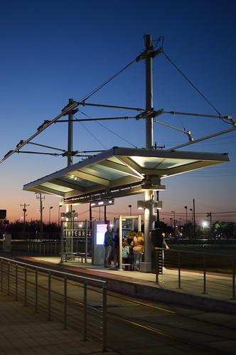 okc oklahomacity 2021 january downtown evening sunset streetcarstop