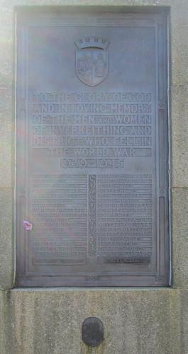 Inverkeithing War Memorial, Second World War Dedication