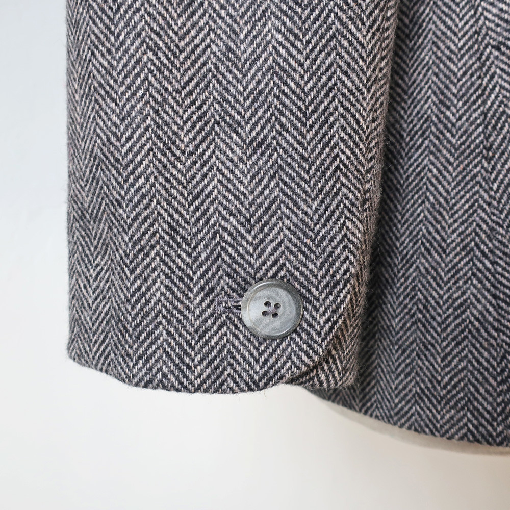 tweed blazer sleeve button