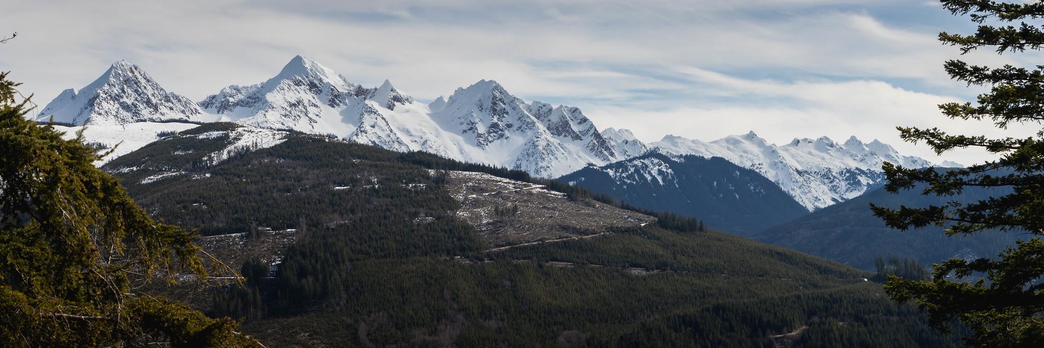Twin Sisters Mountain panoramic view