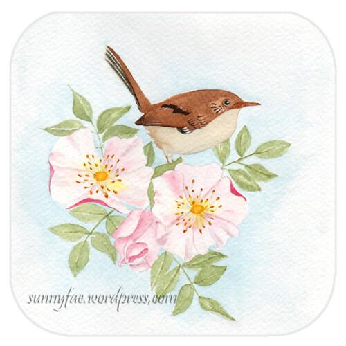 little bird amongst the roses