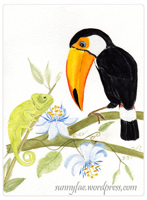 a toucan & chameleon meet