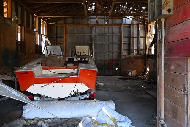 Boat in a barn