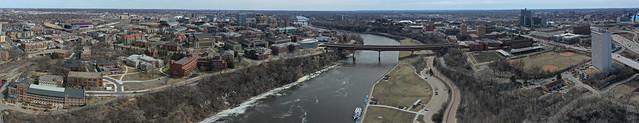 Aerial panorama of the University of Minnesota, Minneapolis