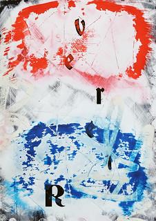 Zavier Ellis 'Revert (Repeat) V (Tricolour)', 2021 Acrylic, emulsion, spray paint on digital gloss print 42x29.7cm