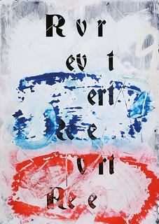 Zavier Ellis 'Revert (Repeat) III (Tricolour)', 2021 Acrylic, emulsion, spray paint on digital gloss print 42x29.7cm