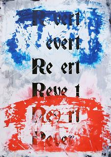 Zavier Ellis 'Revert (Repeat) I (Tricolour)', 2021 Acrylic, emulsion, spray paint on digital gloss print 42x29.7cm