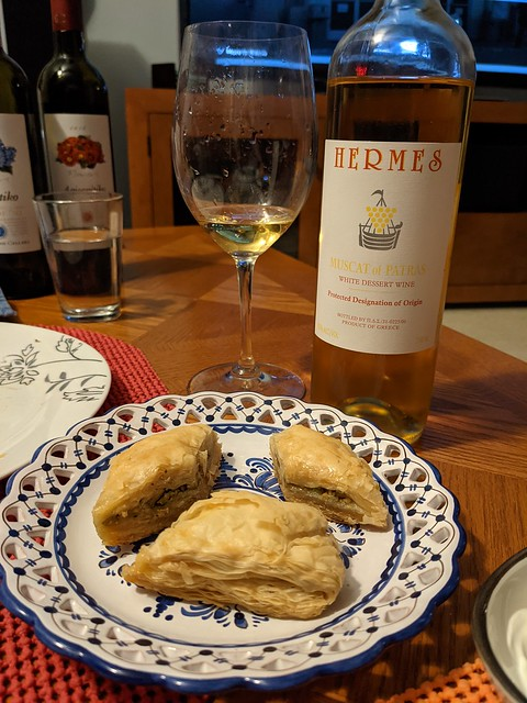 Greece: pistachio baklava from Neomonde and Greek dessert wine