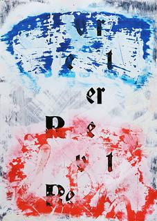 Zavier Ellis 'Revert (Repeat) IV (Tricolour)', 2021 Acrylic, emulsion, spray paint on digital gloss print 42x29.7cm