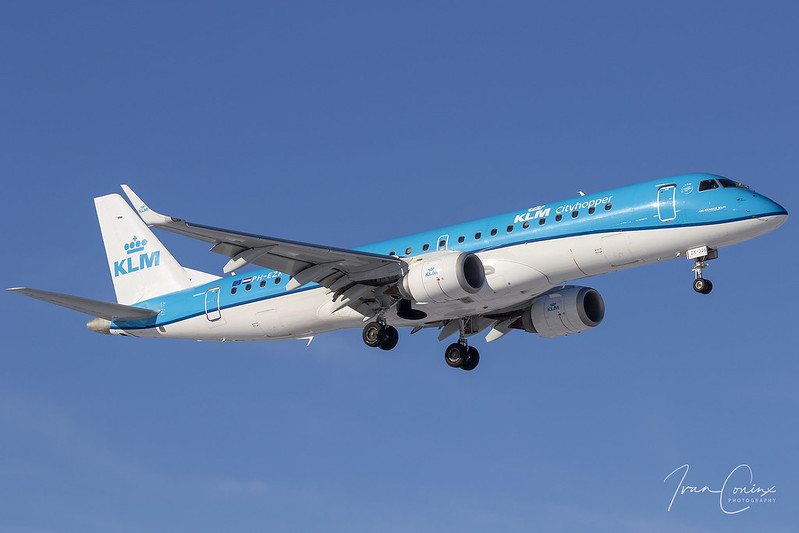 Embraer 190STD – KLM Cityhopper – PH-EZK – Brussels Airport (BRU EBBR) – 2021 02 13 – Landing RWY 01 – 01 – Copyright © 2021 Ivan Coninx