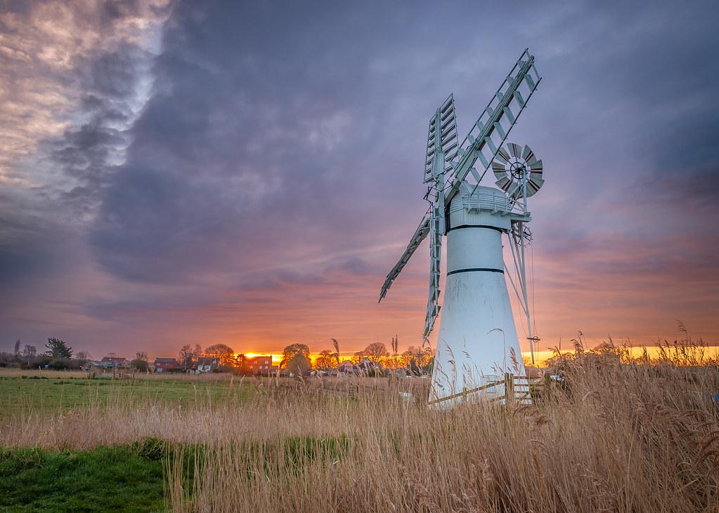 Sunrise Over Thurne Mill Norfolk