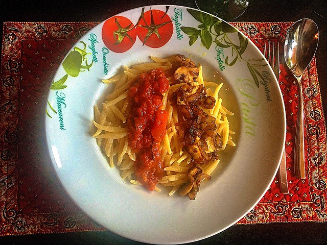 #Pasta #Trofie , #Mushrooms, Ossopuco Sauce, #Pecorino cheese