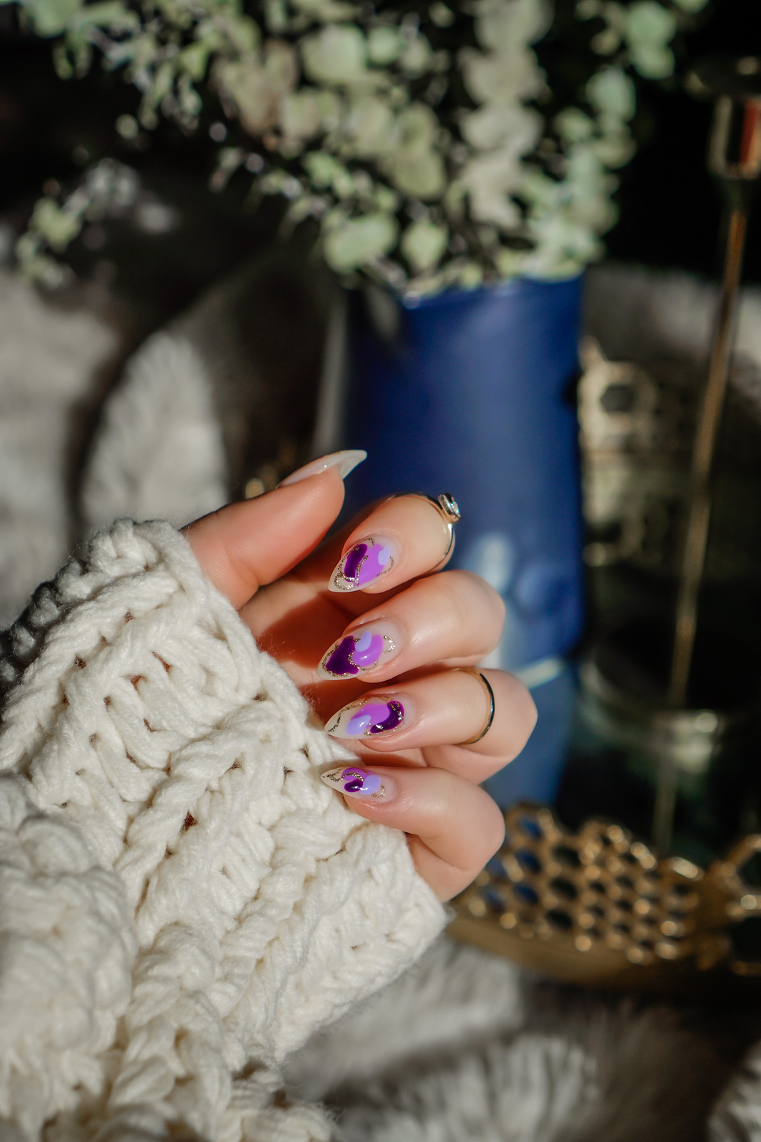 Manicure of the Month: Purple Spring Nails | Pastel Nails | Abstract Nail Art | Purple and Gold Nail Design | Almond Nails | Nail Ideas for Spring | Easter Nails