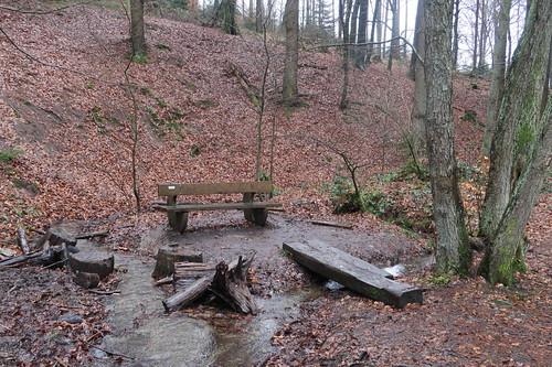 "Bank auf Insel im Zwickenbach (am TERRA.track ""Naturerlebnispfad Zwickenbachtal"")"