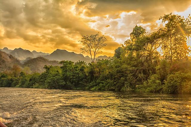 Burning sunset over the jungle